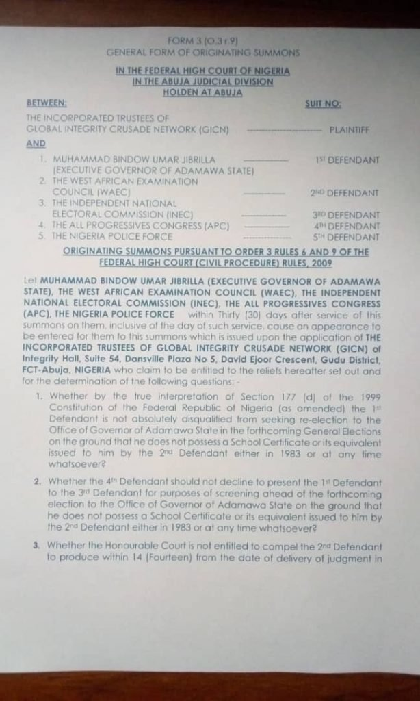 Group Sues Adamawa Governor Bindow Over His Alleged Forged WAEC Certificate
