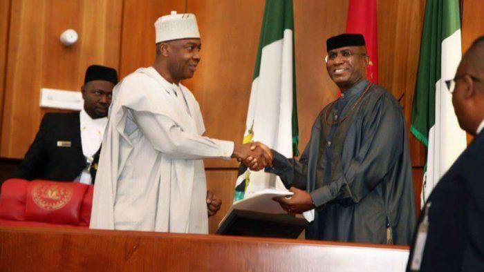 Bukola Saraki, Ovie Omo-Agege, President Muhammadu Buhari