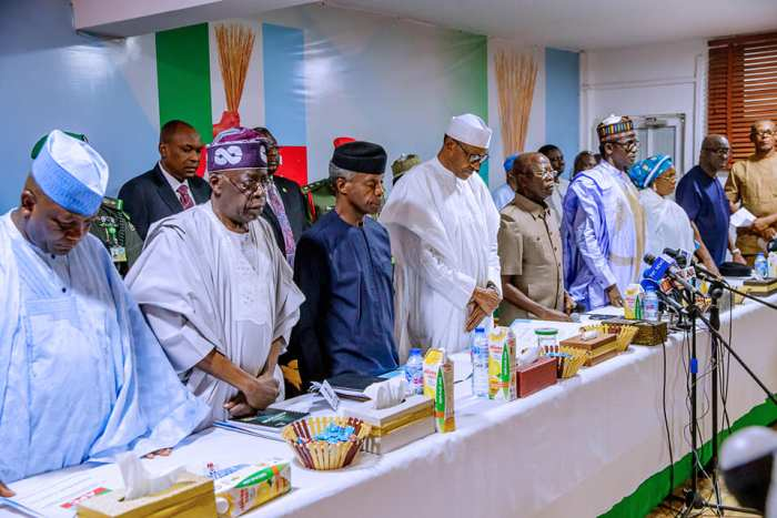 President Muhammadu Buhari and other leaders of the All Progressives Congress, APC, on Monday, February 18, 2019 met in Abuja in the party's caucus meeting. | State House Photo