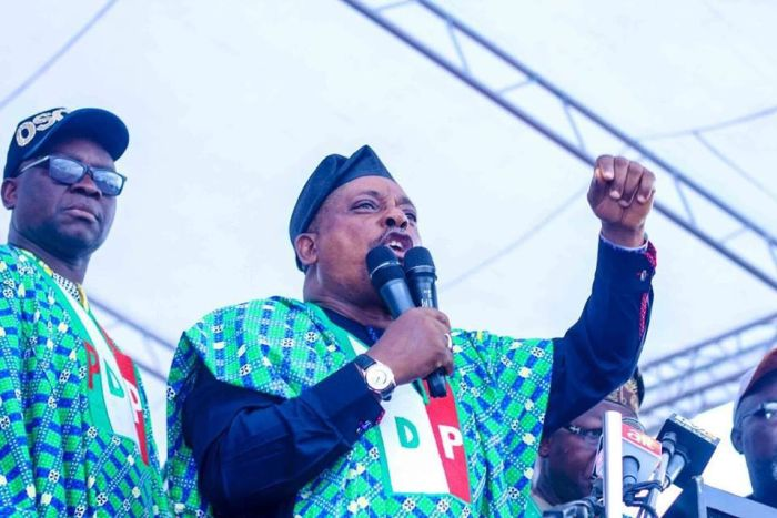 Prince Uche Secondus, the national chairman of the People's Democratic Party, PDP, speaks at a campaign rally in July 1018