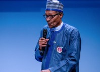 President Muhammadu Buhari delivering his speech at the Peace Forum in France