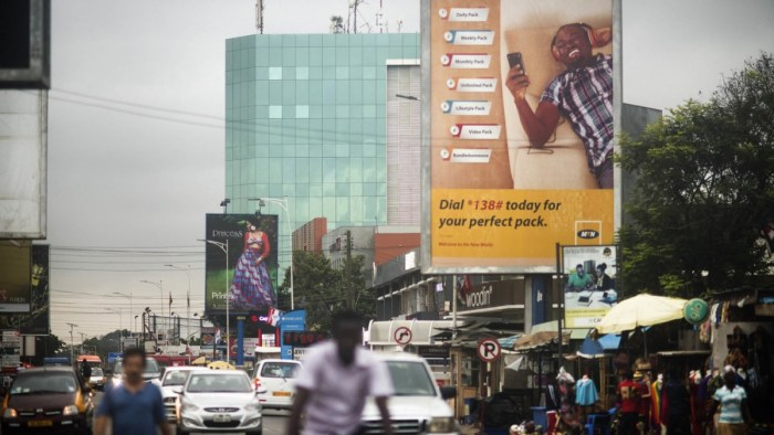 A billboard advertising MTN telecommunication company is seen along a road in Lagos