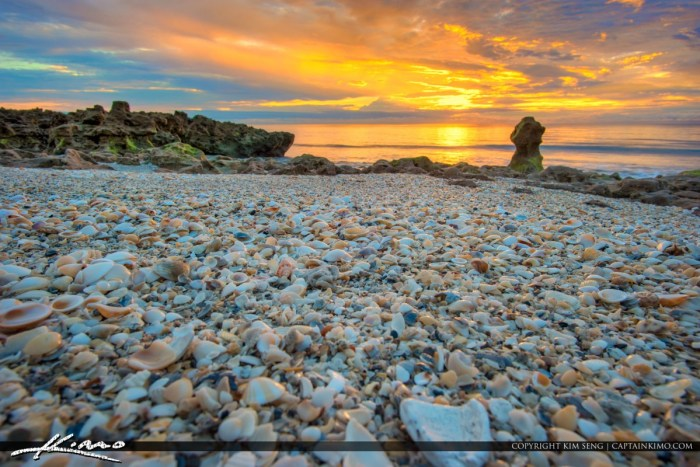 Beautiful early morning sunrise from Jupiter Island along Coral Cove Park during sunrise with millions of shells on the beach. HDR image created using Aurora HDR software by Macphun.
