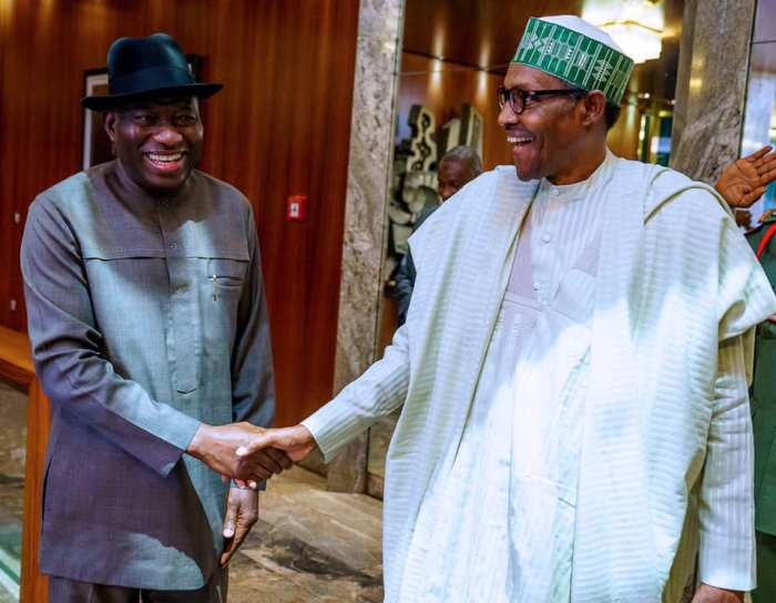 President Buhari receives in audience Former President Goodluck Jonathan in State House on 10th Oct 2019