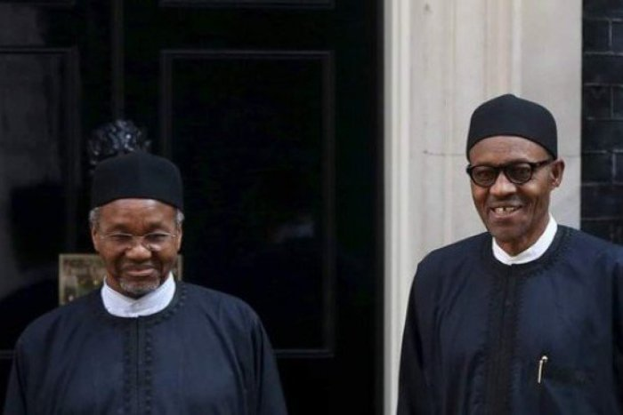President Muhammadu Buhari (right) is pictured with his nephew, Mamman Daura in London in 2015