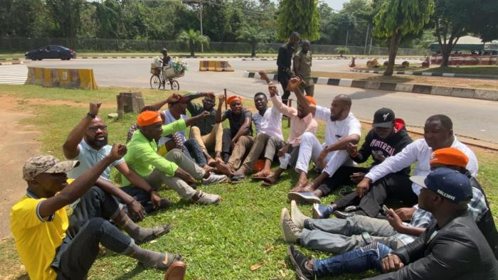 Deji Adeyanju, the convener of Concerned Nigerians, and other activists protest the continued detention of Omoyele Sowore by the DSS on Saturday, November 9, 2019