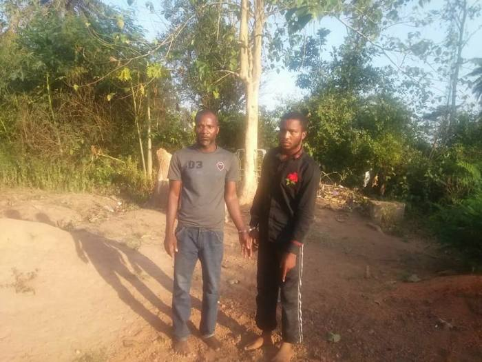 Owolabi Adeeko (right), a former student of LASU, and fellow murder suspect, Segun Phillip pictured after their arrest for the murder of LASU student, Favour Daley-Oladele in Osun State | Facebook