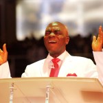Bishop David Oyedepo ministering at Canaanland, Ota, Ogun State during a Shiloh Programme
