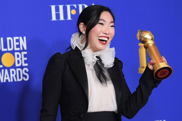 The actress and comedian Nora Lum — a.k.a. Awkwafina — made history when she won for her performance in The Farewell. She's the first Asian woman to win Best Actress in a Motion Picture — Musical or Comedy in Globes history.