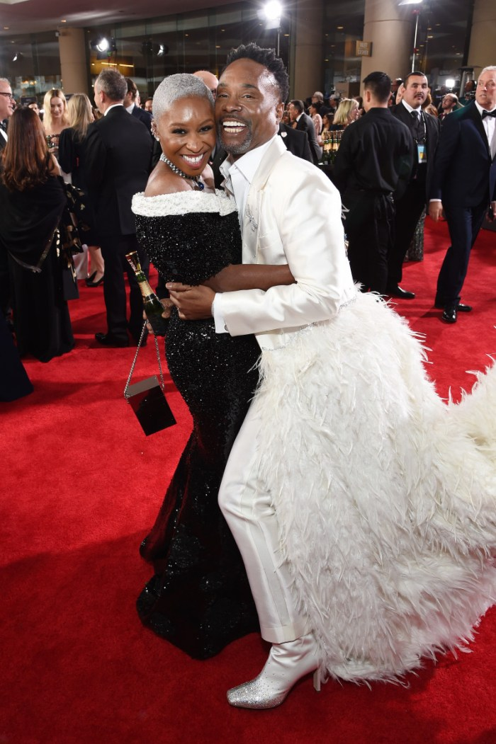 golden globes Cynthia Erivo in Thom Browne and Billy Porter in Alex Vinash. Photo: Michael Kovac/Getty Images
