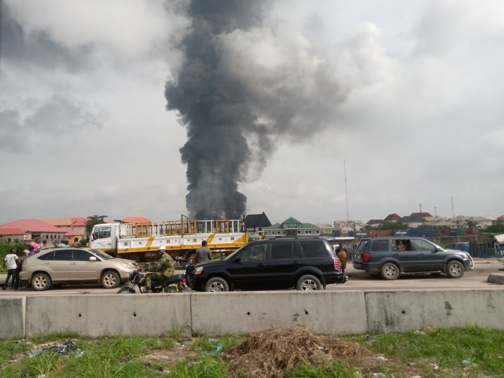 Scene from the Abule Ado gas pipeline explosion in Lagos on Sunday, March 15, 2020.   Twitter
