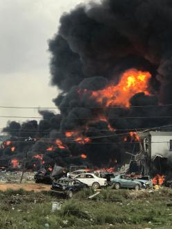 A scene from the Abule Ado gas pipeline explosion in Lagos on Sunday, March 15, 2020. | Twitter