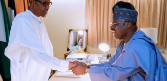 FILE: Governor Abiola Ajimobi of Oyo State meets President Muhammadu Buhari in Aso Rock in an undated photo