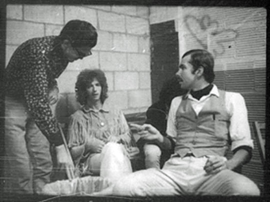 Eric Clapton with Ken Melville, right, and Dick Waterman backstage at the Psychedelic Supermarket, September, 1967.