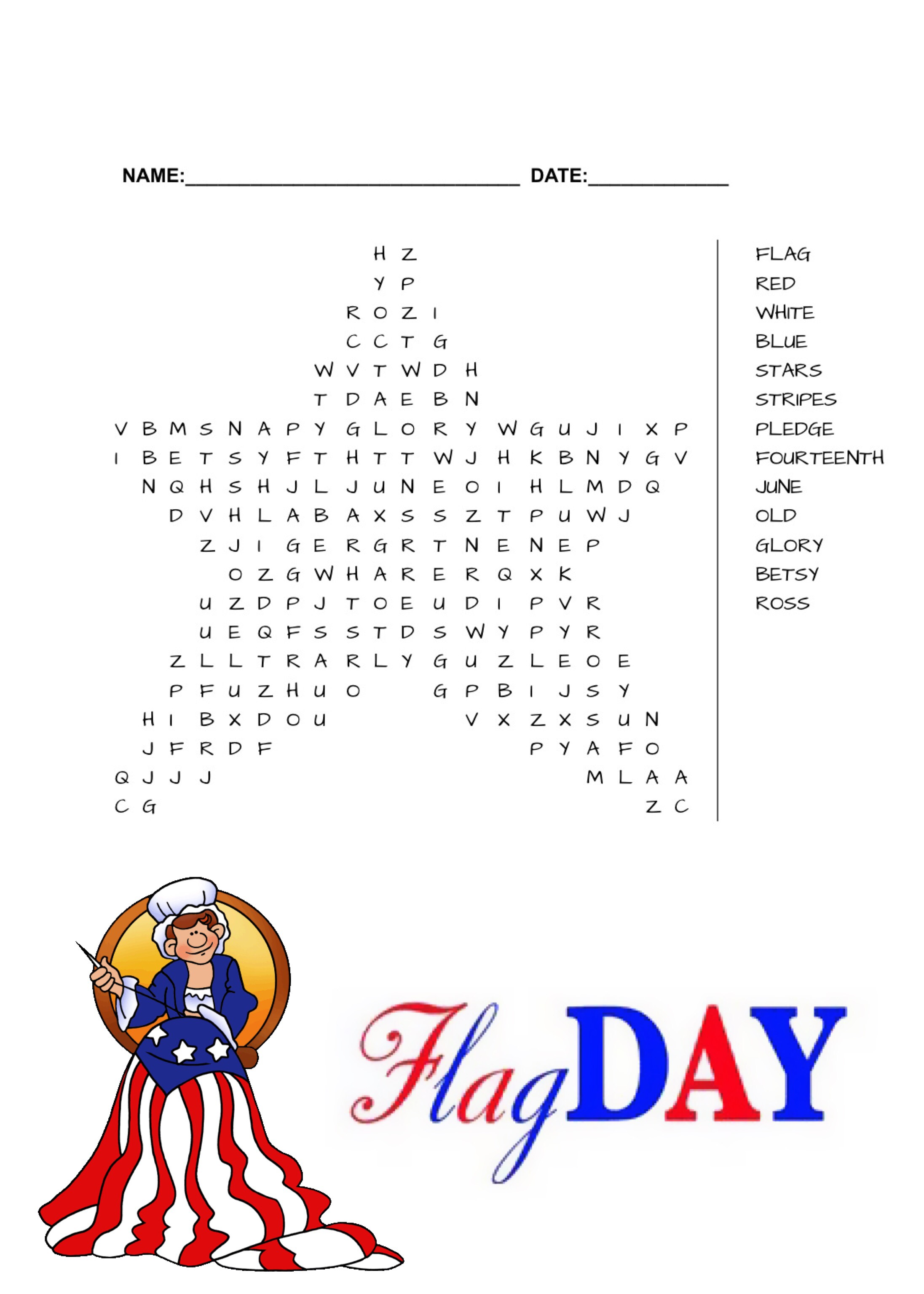 Flag Day Word Search Free Printable