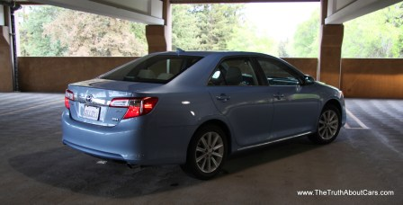2012 Toyota Camry Hybrid, Exterior, rear 3/4, Photography Courtesy of Alex L. Dykes
