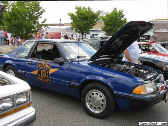 What's a police car show like without a cop hot rod, a pursuit special? The 1992 Ford Mustang was used by the Michigan State Police. Full gallery here.