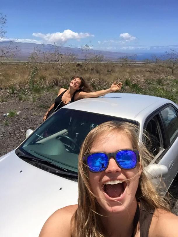 Aliza McKeigue and her friend Claire rejoice with the 2001 Toyota Corolla, Image: Claire Brennan