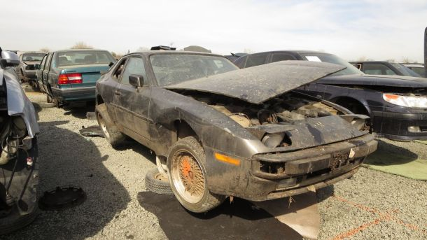 1983 Porsche 944 in California Junkyard, I LOVE TO PARTY sign - ©2016 Murilee Martin - The Truth About Cars