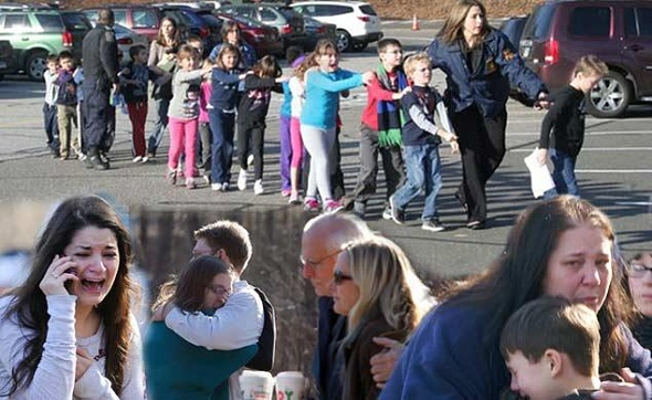 Scenes from Sandy Hook.