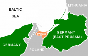 """After Germany was essentially tricked into laying down her arms and surrendering during World War I, its west Prussian territory was carved out, given to the new state of Poland, and, for the most part, """"ethnically cleansed"""" of Germans. The German port city of Danzig was declared a """"free city"""" and forbidden from rejoining Germany. East Prussia remained part of Germany but was left isolated from the mainland. This illogical and immoral configuration, and the anti-German abuses which were to take place within the """"Polish Corridor"""", would serve as the perfect trip-wire for setting off a new war against Germany. Click to enlarge"""