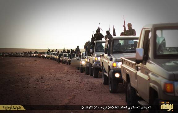 ISIS held a massive military parade last week in Cyrenaica in eastern Libya. Click to enlarge