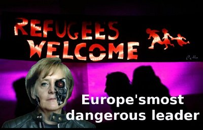 'I WILL OPEN THE FLOODGATES TO A MILLION MIGRANTS A YEAR AND COMPLETELY DESTROY GERMANY FOR MY JEWISH MASTERS.' — Angela Merkel, Imaginary quote