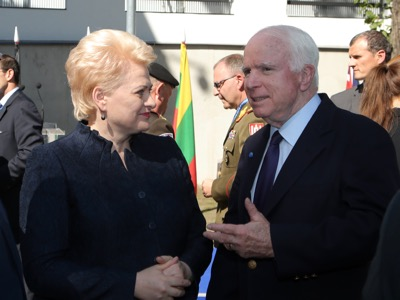 On 20 August 2015, NATO's Centre of Strategic Communication was inaugurated in Riga under the direction of Jānis Sārts, and in the presence of the director of a branch of the National Endowment for Democracy, John McCain (seen here in conversation with Lithuanian President Dalia Grybauskaitė).Photo : Gatis Dieziņš