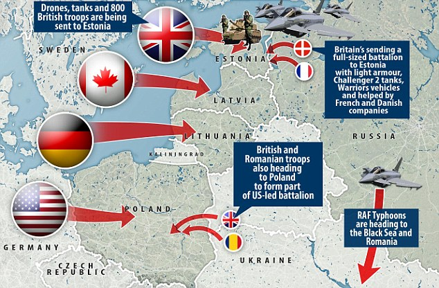 Britain is sending tanks, drones and 800 troops to Estonia next year as part of the biggest military build-up on Russia's borders since the Cold War. Click to enlarge