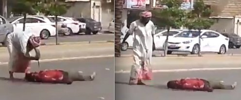 This Saudi employer was seen hacking his Indian slave workers to death right in the middle of the road in 2014 in Riyadh.