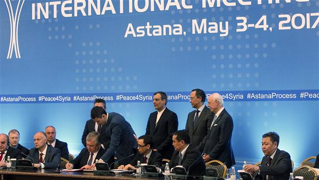 Senior diplomats attend the signing of a memorandum on creating safe zones in Syria during the fourth round of Syria peace talks in Astana on May 4, 2017.