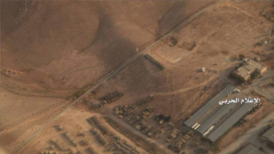 U.S. and Jordanian military vehicles gather near the border with Syria. Click to enlarge
