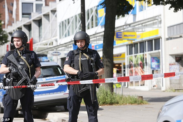 heavily armed German police on the streets after the attack
