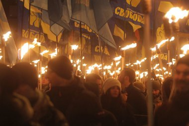Ukrainian Nazi torch march. Click to enlarge