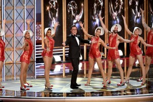 Transexual among female dancers dressed as vaginas at the Emmys. Click to enlarge