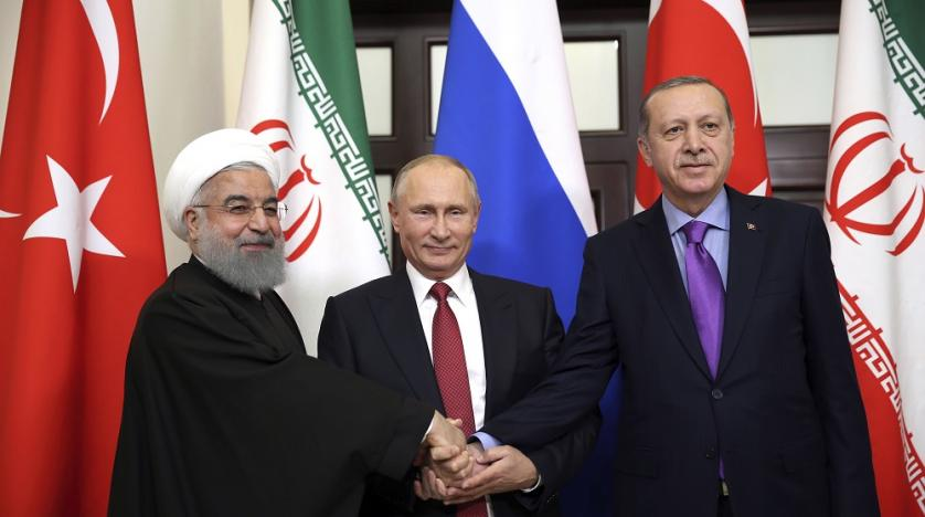 Iranian President Rouhani, President Putin and President Erdogan at the Sochi summit. Click to enlarge
