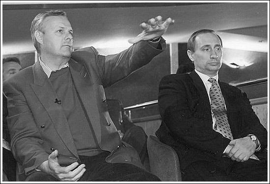 Putin with Anatoly Sobchak, Mayor of St. Petersburg, early 1990s. Putin was one of Sobchak's deputies from 1992-96