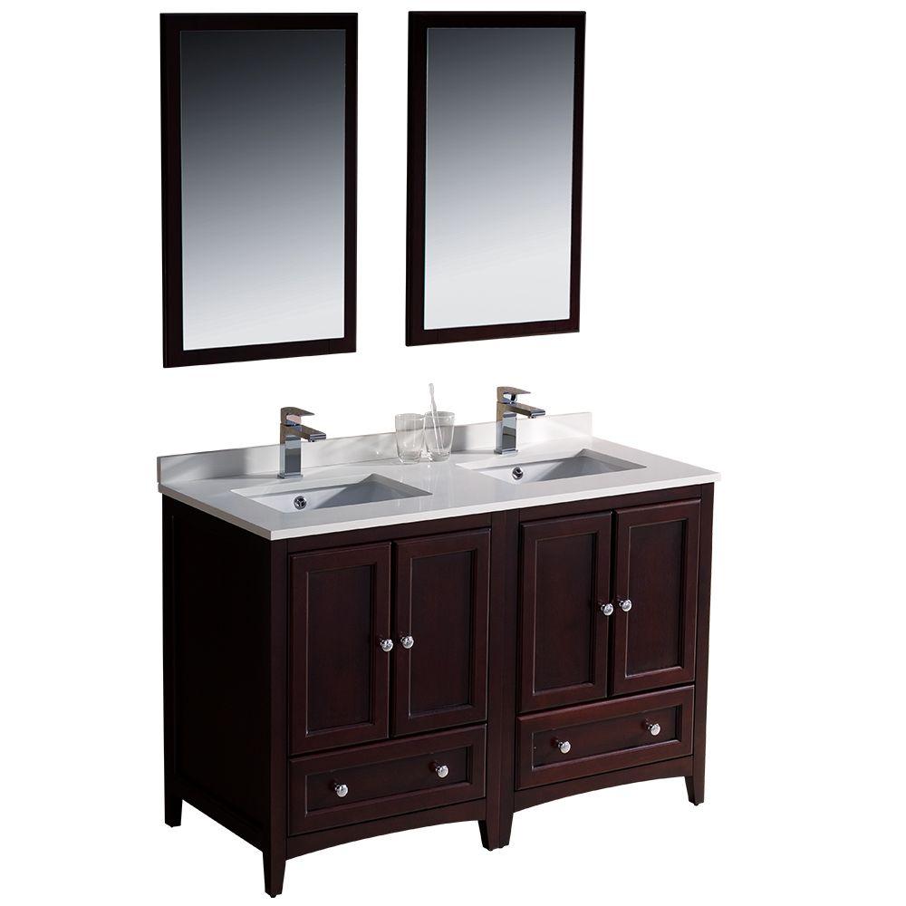 48 inch mahogany double basin sink bathroom vanity fvn20 2424mh