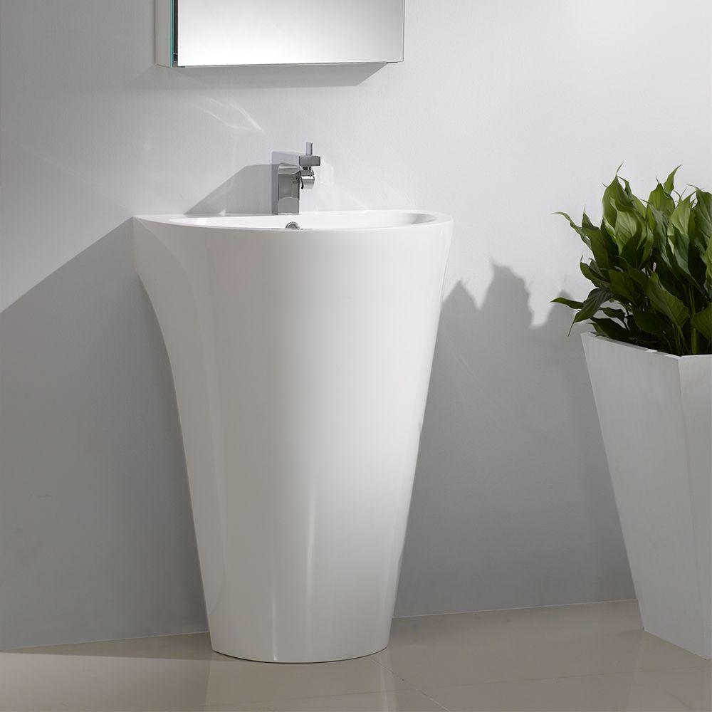 fresca parma 24 white pedestal sink w medicine cabinet bathroom vanity fvn5023wh