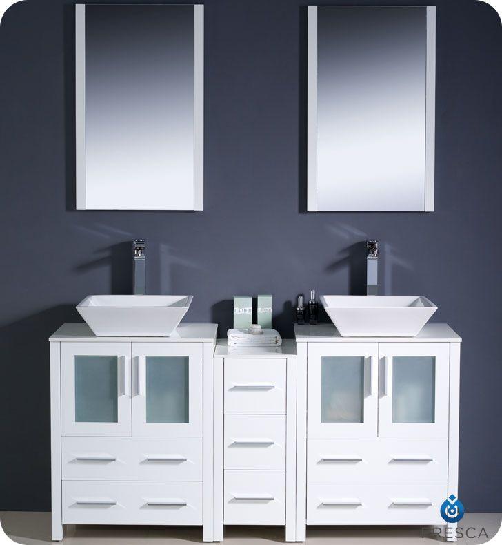 fresca torino 60 white modern double sink bathroom vanity w side cabinet vessel sinks fvn62 241224wh vsl