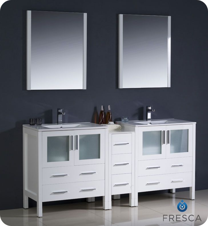 72 inch double sink bathroom vanity 1 side cabinet fvn62 301230wh uns torino