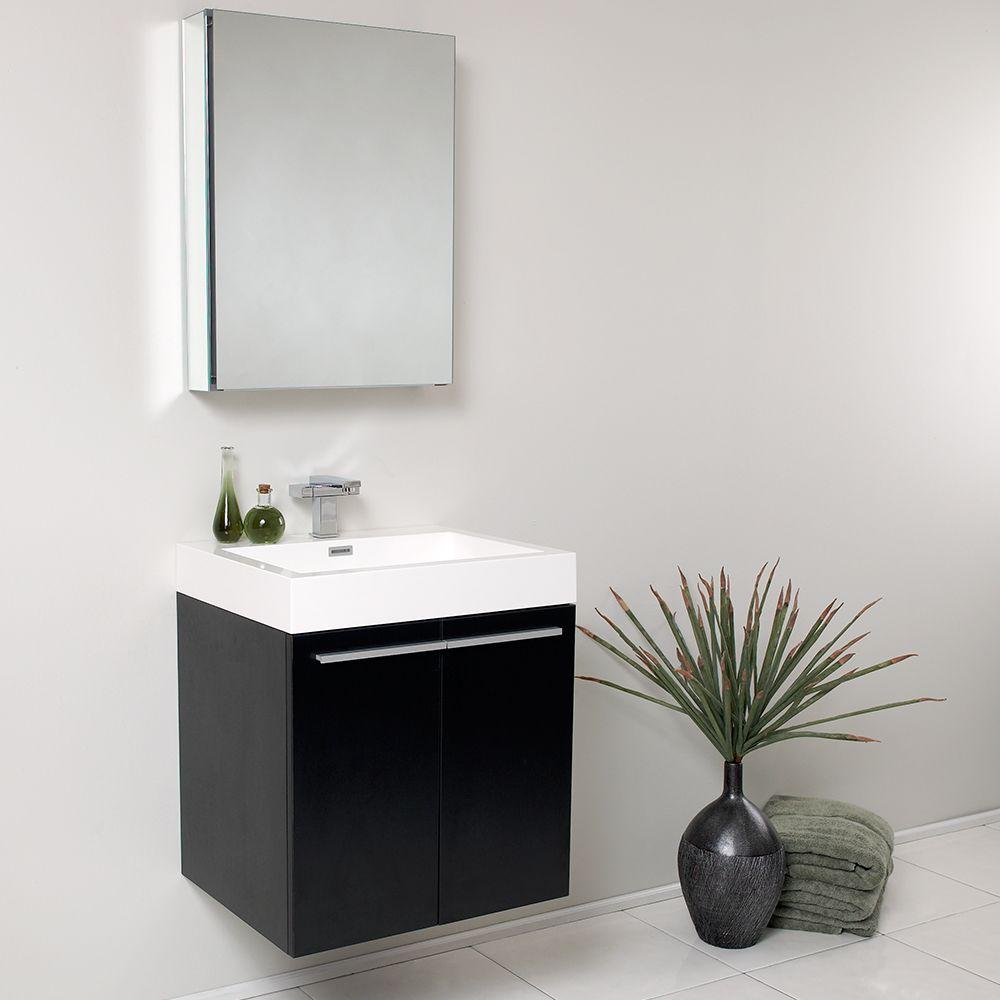 23 inch black modern wall mount bathroom vanity medicine cabinet fresca fvn8058bw