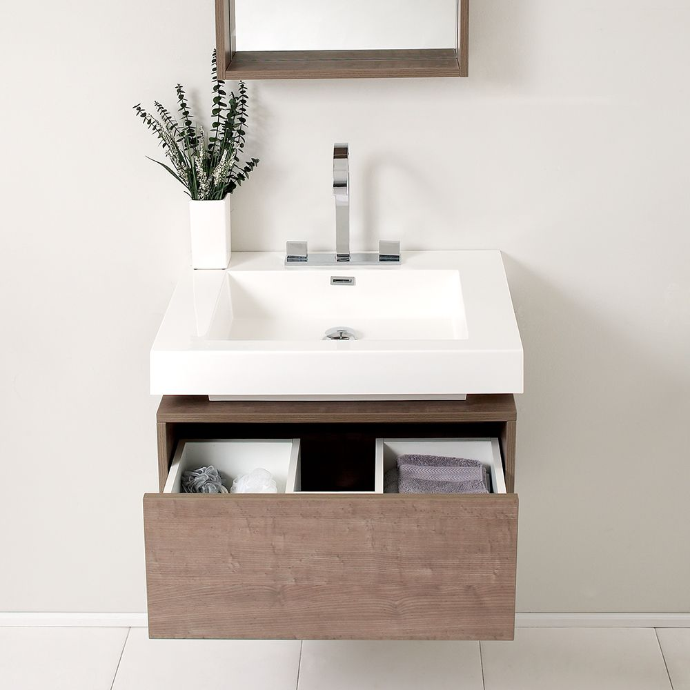 28 inch gray oak single wall mounted bathroom vanity fresca fvn8070go