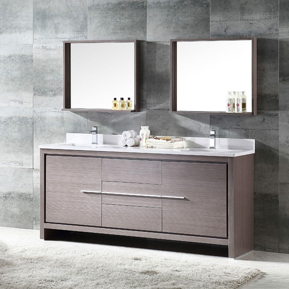72 inch gray oak double sink bathroom vanity w mirror fresca fvn8172go