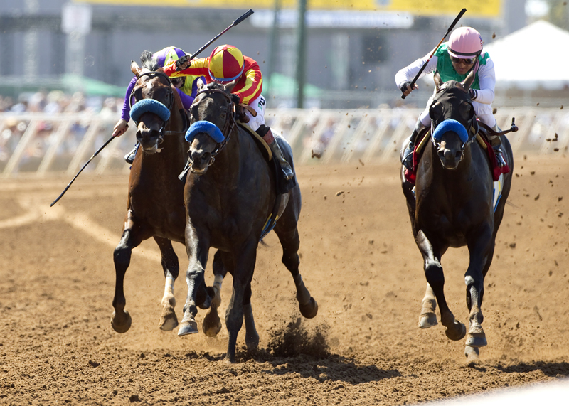Gimme Da Lute and jockey Martin Garcia, second from left, outleg Fame and Power (Rafael Bejarano), right, and Desert Dynamo (Flavien Prat), left, to win the 0,000 El Cajon Stakes, Saturday, August 29, 2015 at Del Mar Thoroughbred Club, Del Mar CA. © BENOIT PHOTO