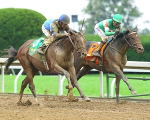Brody's Cause edges Exaggerator in the Claiborne Breeders' Futurity (gr. I) at Keeneland - Keeneland Photo