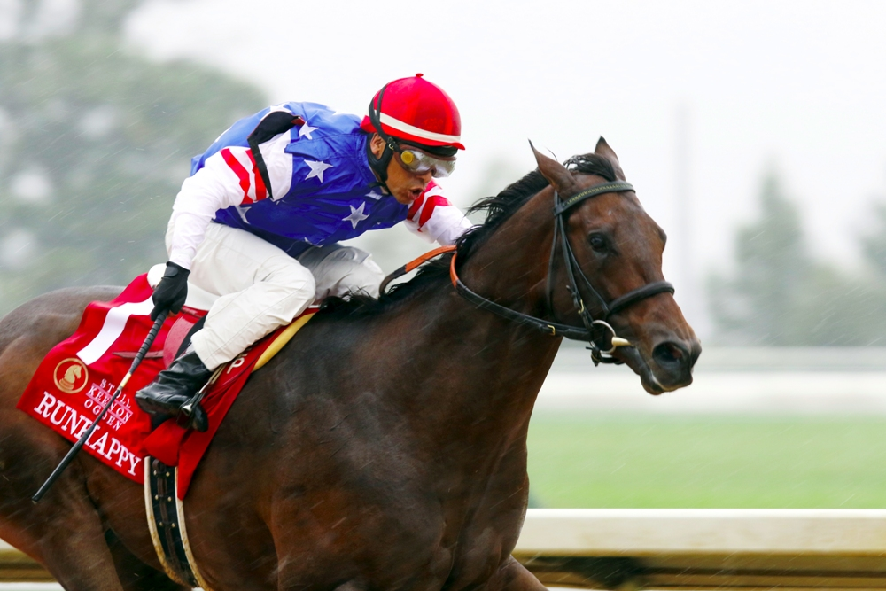 Runhappy winning the Phoenix Stakes (gr. III) at Keeneland - Keeneland Photo