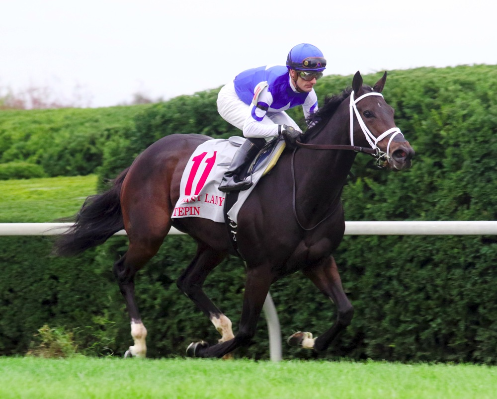 Tepin winning the 2015 First Lady Stakes (gr. I) at Keeneland - Keeneland Photo