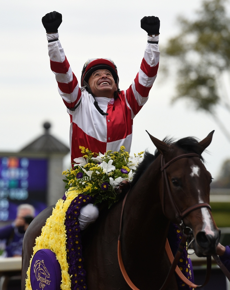 Songbird and jockey Mike Smith after winning the 2015 Breeders' Cup Juvenile Fillies (gr. I) at Keeneland - Breeders' Cup Photo (c)