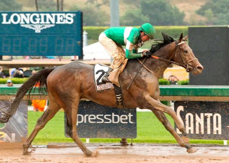 Exaggerator romps to a decisive victory in the Santa Anita Derby (gr. I) - © BENOIT PHOTO